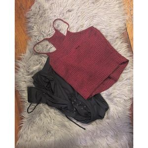Woven red tank top